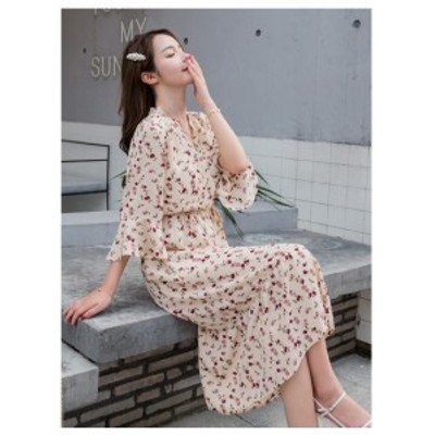 大きいサイズ レディース フローラル vネック 長袖 ドレス 花柄 カジュアル ロングスカート ワンピース S M L XL 2XL 3XL 4XL