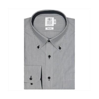 【トーキョーシャツ】 ワイシャツ長袖形態安定 ボタンダウン ブラック系 スリム メンズ クロ・グレー M-80 TOKYO SHIRTS