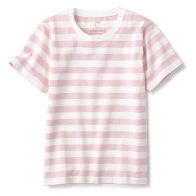 無印良品 インド綿天竺編みTシャツ キッズ 130 ピンクボーダー 良品計画