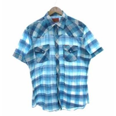 【中古】ヴィンテージ VINTAGE ELY PLAINS ウエスタンシャツ チェック カウボーイシャツ 水色 ブルー L メンズ