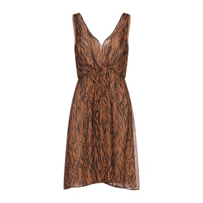 ANTONELLI ミニワンピース&ドレス ブラウン 42 紡績繊維 ミニワンピース&ドレス
