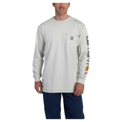 カーハート メンズ シャツ トップス Carhartt Men's Flame Resistant Force Cotton Graphic LS T-Shirt Light Grey