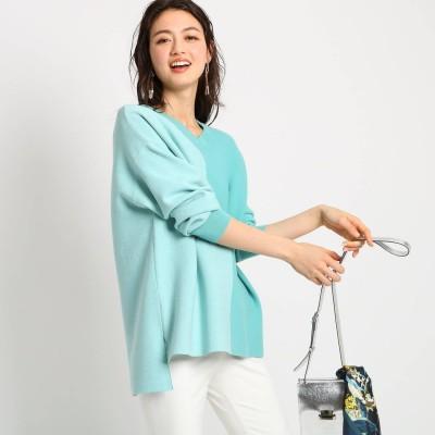 インディヴィ INDIVI 【ハンドウォッシュ】カラーブロッキングニットソー (グリーン)