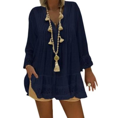 レディース 衣類 トップス Women Loose Tops Solid Patchwork Blouse ブラウス&シャツ