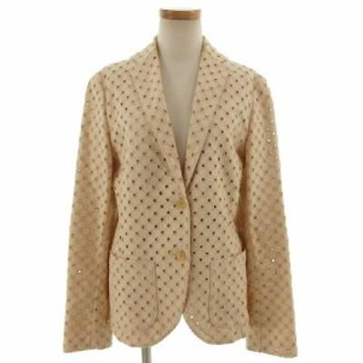 【中古】ブリエ BVRILLER ジャケット 長袖 刺繍 日本製 リネン混 ベージュ42 レディース