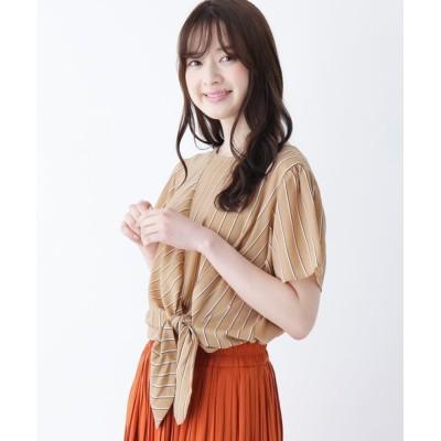 SHOO・LA・RUE / 【M-L】リボン使いストライプ切り替えカットソー WOMEN トップス > Tシャツ/カットソー