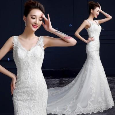 ウエディングドレス 安い ウエディングマーメイドドレス 二次会 花嫁 マーメイドドレス ロング 結婚式 ブライダル 披露宴 ウェディングドレス 大きいサイズ