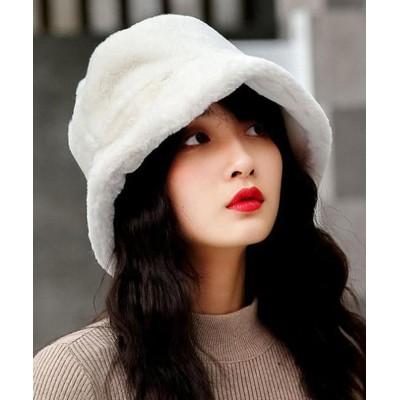 (miniministore/ミニミニストア)バケットハット レディース ハット 帽子 ファー ふわふわ 冬 暖かい 厚手 おしゃれ 可愛い 韓国/レディース ホワイト