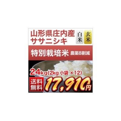 お米 24kg 山形県庄内産 ササニシキ 24kg (2kg×12袋) 令和2年(2020年) 【白米・玄米選択】【特別栽培米】【送料無料・米袋は真空包装】