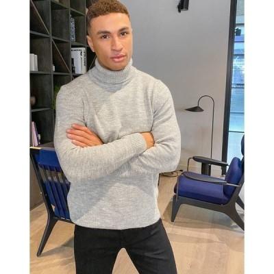 ニュールック メンズ ニット&セーター アウター New Look turtleneck heavy knit sweater in light gray Grey