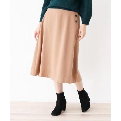 スカート 【M-L】サキソニー調サイドボタンフレアスカート