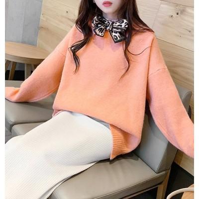 ニット レディース セーター リボン 蝶ネクタイ ビッグサイズ オーバーサイズ 韓国 ゆったり 無地