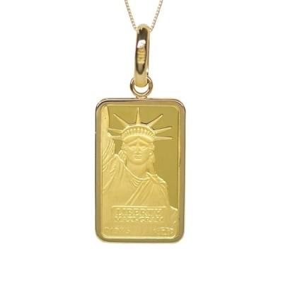 リバティコイン K24(純金 K24) 5g リバティコイン インゴット 自由の女神 K18枠付きペンダントトップ