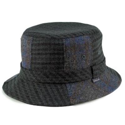 ハット 秋冬 サハリ メンズ SIMPLE LIFE 普段使い パッチワーク シンプルライフ 帽子 サハリハット チャコール