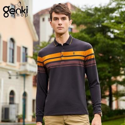 新作 Polo Shirt メンズ ポロシャツ ゆったり 長袖ポロ カジュアル 夏 ファッション ゴルフシャツ スポーツ 長袖ポロシャツ 2色