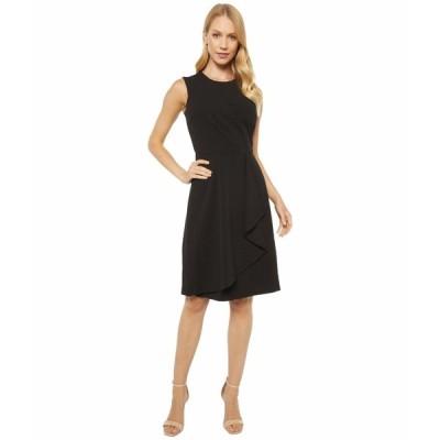 カルバンクライン ワンピース トップス レディース Sleeveless Dress with Pleat and Ruffle Detail Black