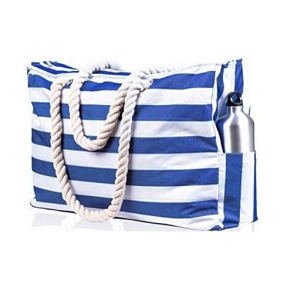 Beach Bag XL. 100% Waterproof (IP64). L22 xH15 xW6 w Cotton Rope Handles, Top Zipper, Extra Outside Pocket. Beach Tote Has Waterproof Phone Case, Buil