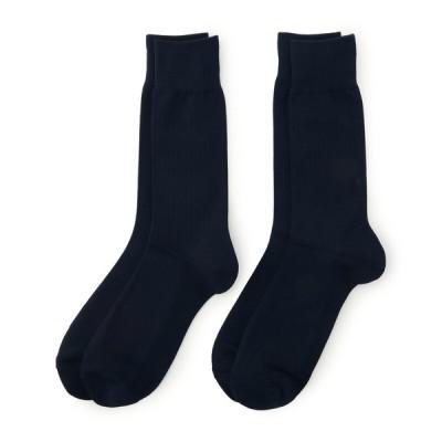 メンズ 紳士靴下 満足 2足組 BTM疑似リブレギュラー丈 ネイビー 25~27cm