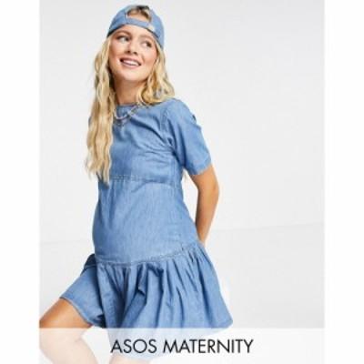 エイソス ASOS Maternity レディース ワンピース デニム マタニティウェア Tシャツワンピース Maternity Soft Denim Smock T-Shirt Dress