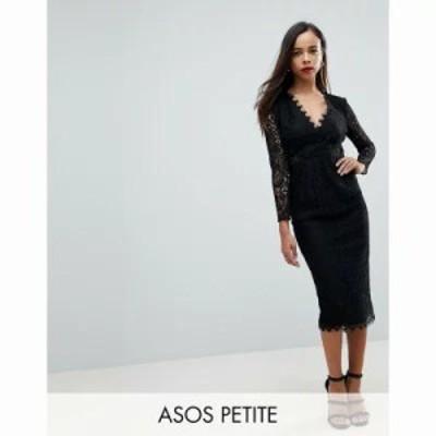 エイソス ワンピース ASOS PETITE Long Sleeve Lace Midi Pencil Dress Black