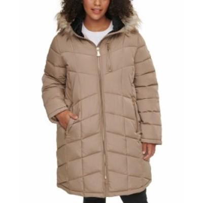 カルバンクライン レディース コート アウター Plus Size Faux-Fur Trim Hooded Puffer Coat Tawny Owl