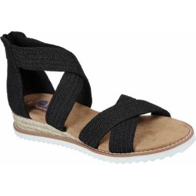 スケッチャーズ レディース サンダル シューズ Women's Skechers BOBS Desert Kiss Desert Night Wedge Sandal Black Woven Fabric