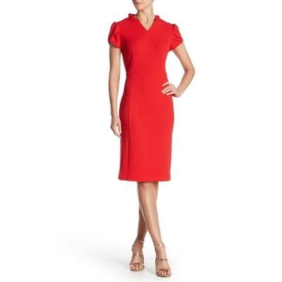 シャラガノ レディース ワンピース トップス Ruffle Trim Shift Dress CHINESE RED