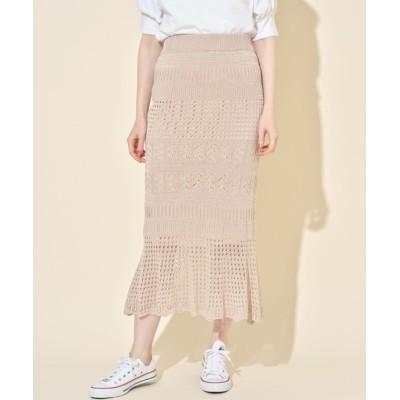 (tocco closet/トッコクローゼット)スカラップカット透かし編みマーメイドスカート/レディース BEIGE