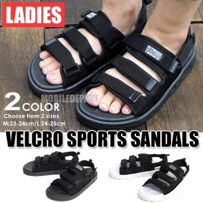 スポーツサンダル ベルクロ サンダル レディース 歩きやすい 疲れにくい 夏 痛くない ビーチサンダル スポサン ビーサン 23-24 24-25cm 黒 白