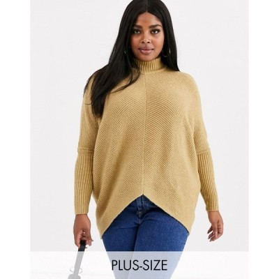 シンプリービー レディース ニット&セーター アウター Simply Be high neck ribbed sweater in camel Camel
