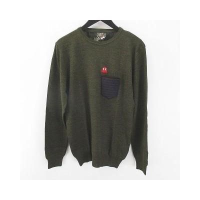 【中古】クーン KOON パックマン 長袖 ニット セーター 緑系 グリーン イタリア製 刺繍 胸ポケット 毛 ウール メンズ 【ベクトル 古着】