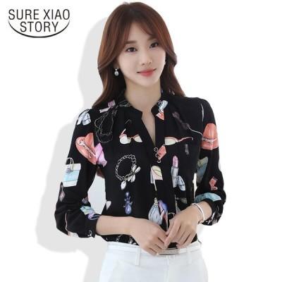 2016 レディース 秋ファッション ブラウス 長袖 韓国 シャツ スリム シフォン トップス 大きいサイズ