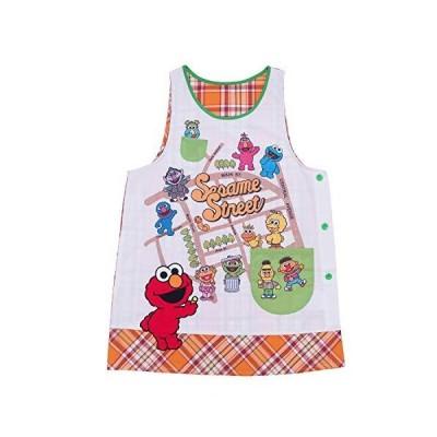 キャラクターエプロン セサミストリート エルモ 保育士 保育園 幼稚園 サイドボタン 刺繍 アップリケ