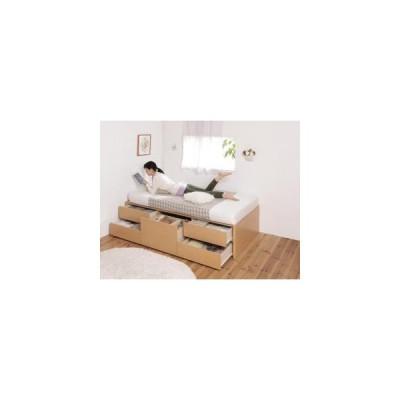 ベッドフレーム ベッド 日本製 ヘッドレス大容量コンパクトチェストベッド 薄型スタンダードポケットコイルマットレス付き セミシングル ショート丈 0401179457