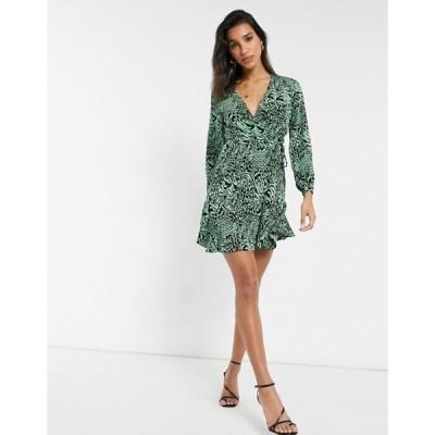 ホイッスルズ レディース ワンピース トップス Whistles zebra print wrap dress in green