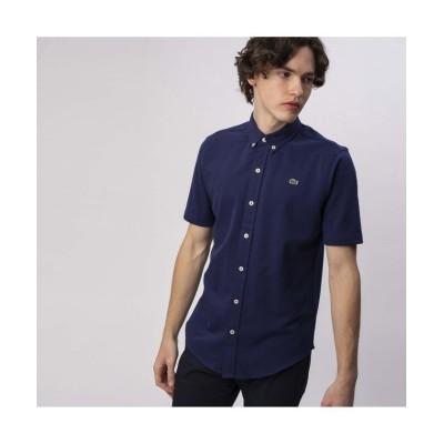 【ラコステ】 コットン×リネン鹿の子地半袖ボタンダウンシャツ メンズ ネイビー 39(日本サイズM) LACOSTE