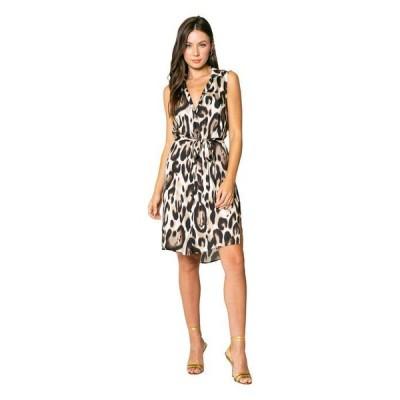 ラベンダーブラウン レディース ワンピース トップス Cheetah Printed Sleeveless Shirtdress