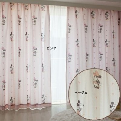 レトロミッキー&ミニー 遮熱カーテン2枚セット(オーダーカーテン)幅100×丈110~150(cm) キャラクター【Disneyzone Disney/ディズニ