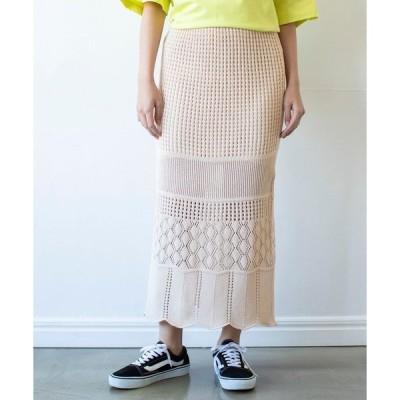 スカート クロシェ編み風ミディスカート *