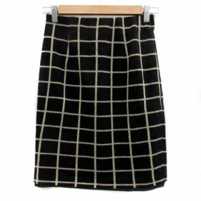 【中古】ビス ViS スカート タイト ひざ丈 ウィンドウペン柄 S 黒 ブラック ベージュ /YS16 レディース