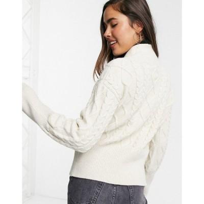 ファッションモンキー レディース ニット&セーター アウター Fashion Union fitted cardigan with tie waist in textured knit CREAM