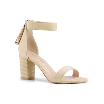 レディース 靴 ヒール パンプス Unique Bargains Women's Stacked Heel Open Toe Tassel Ankle Strap Sandals