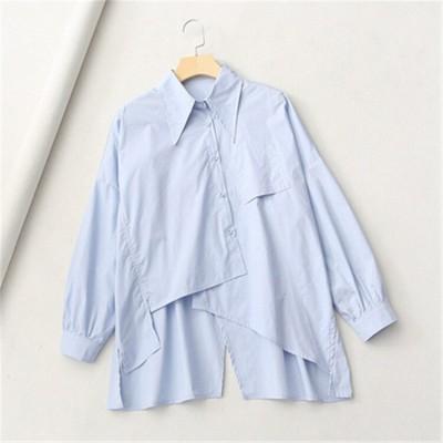 満場の注目を集めて登場する 通勤する ブラウス デザインセンス イレギュラー スリム 長袖 シャツ 2020新しいスタイル ラペル 快適である シャツ 百掛け ゆったりする