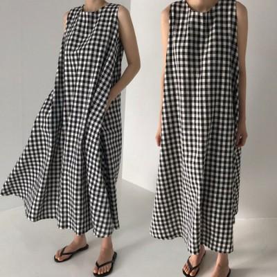 送料無料 2021韓国ファッション的な白黒の格子のノースリーブのゆったりした長さのひざ越しのワンピース
