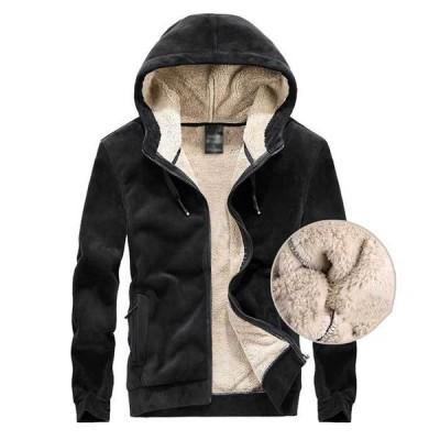 裏ボアジャケット メンズ トップス 冬 アウター フード付き ジップアップ ファスナーポケット 厚手 暖かい ジャケット 無地 シンプル 防寒対策 グレー ブラック