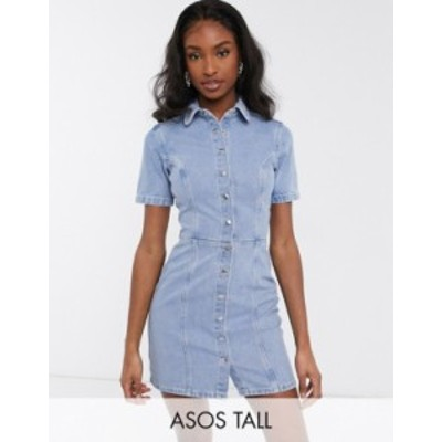 エイソス レディース ワンピース トップス ASOS DESIGN Tall structured seamed mini shirt dress Blue