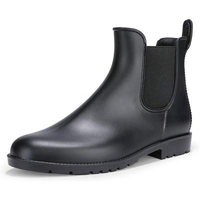 [IDIFU] レディース ファション 疲れない 防水 ラウンドトウ 滑り止め 雨靴 サイドゴア レインブーツ ブラック 25 cm