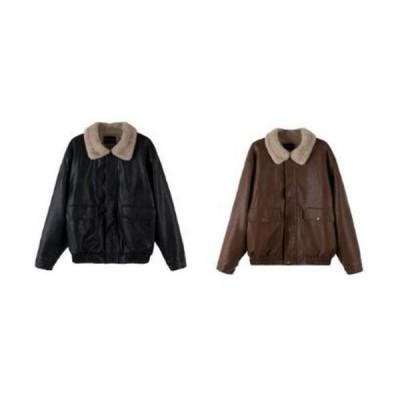 2020 秋冬新作 無地 レザー ファー ボア ジャケット コート アウター ブルゾン パーカー ベスト 2色 ブラック ブラウン S M L ゆったり 大きいサイズ シンプル