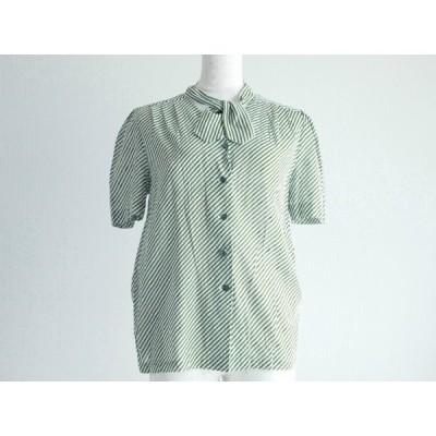 #snc ニナリッチ NINARICCI シャツ ブラウス ボウタイ 半袖 11 白 緑 ストライプ レディース [615567]