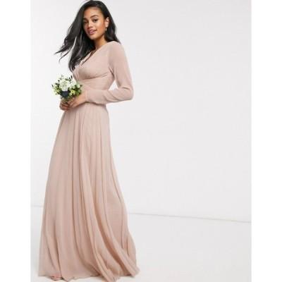 エイソス レディース ワンピース トップス ASOS DESIGN Bridesmaid ruched waist maxi dress with long sleeves and pleat skirt